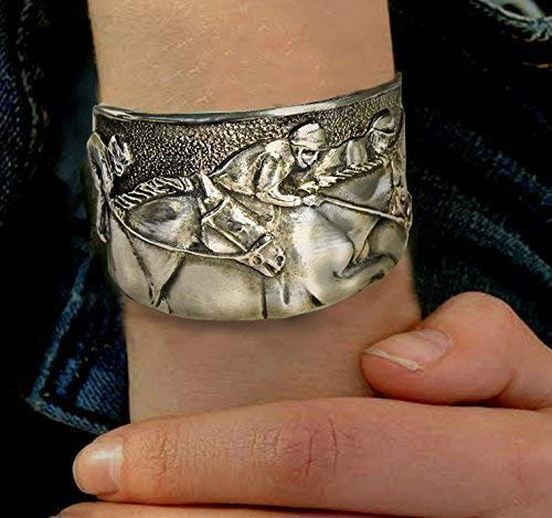 Horse Lady Gifts Derby Day Horse Racing cuff bracelet in silvery polished pewter
