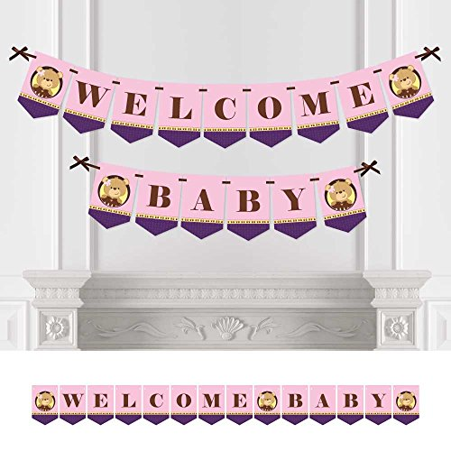 Big Dot of Happiness Baby Girl Teddy Bear - Baby Shower Bunting Banner - Pink Party Decorations - Welcome Baby