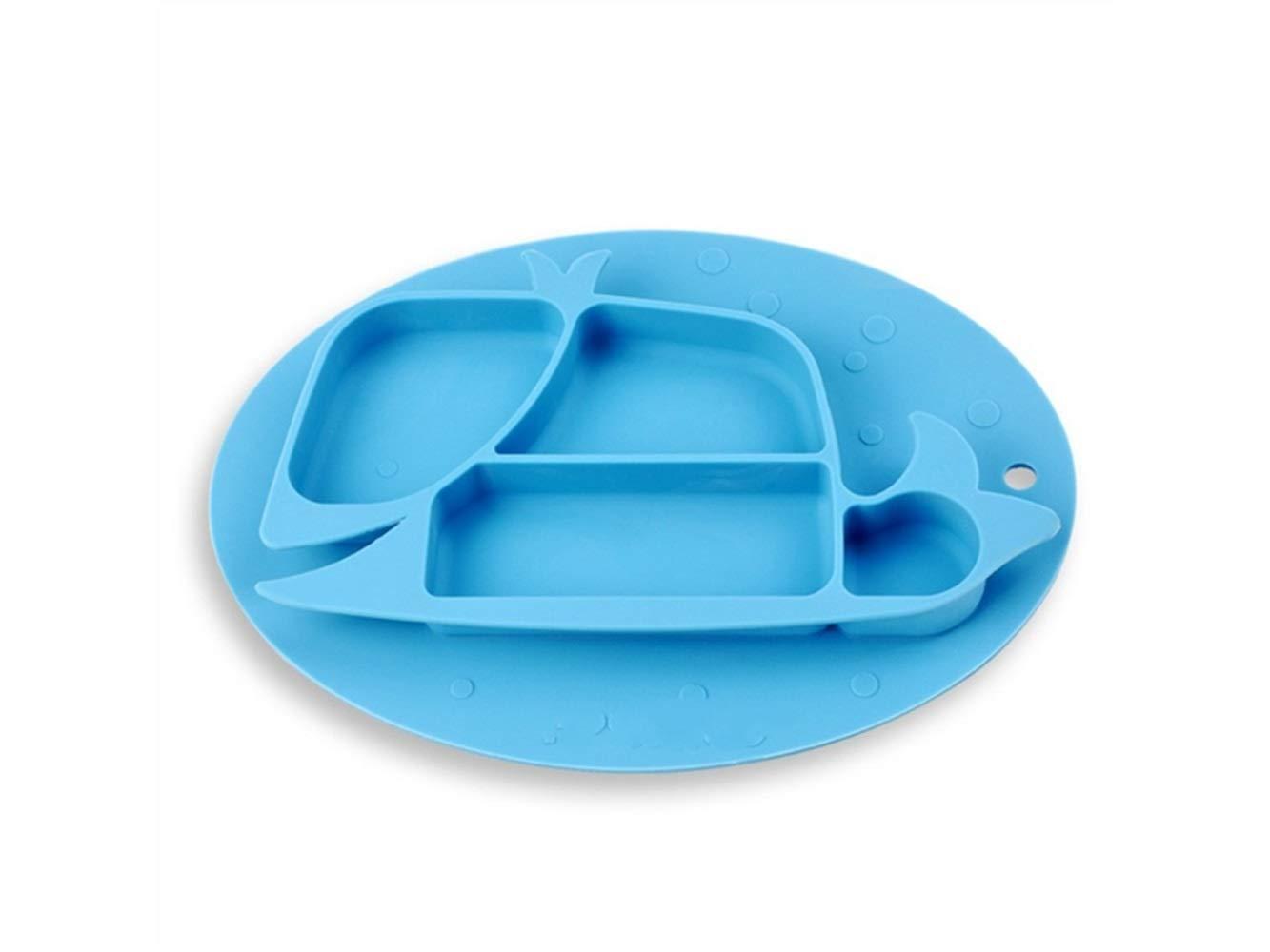 FERFERFERWON Mantel para bebé Silicona Animal Forma Antideslizante Bowl Baby Plate Plato Plato vajilla para Alimentar Placemat (Azul) Niños pequeños: ...