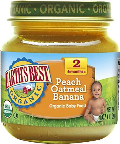 Earths Best Organic Stage 2 Baby Food, Peach Oatmeal Banana, 4 oz. Jar (Pack of 12)