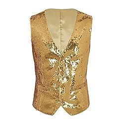 Men's Sequins V-Neck Slim Fit Waistcoat