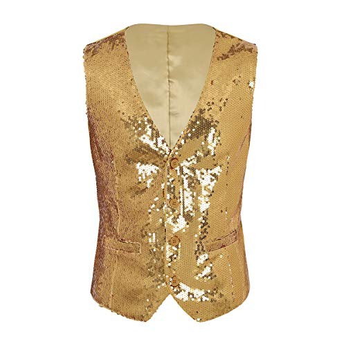 inlzdz Men's Shiny Sequins V-Neck Vest Paillette Waistcoat Slim Fit Business Party Dress Suit Gold