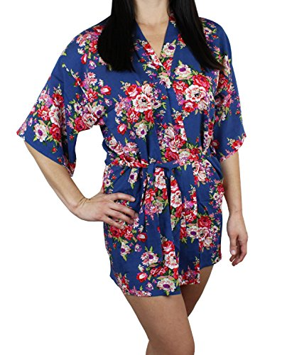 Ms Lovely Women's Cotton Floral Pattern Lounge Robe - Blue XS/S