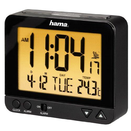 Hama Funk Wecker RC550 (sensorgesteuerte Nachtlichtfunktion, Schlummerfunktion, Temperatur- und Datumsanzeige) schwarz
