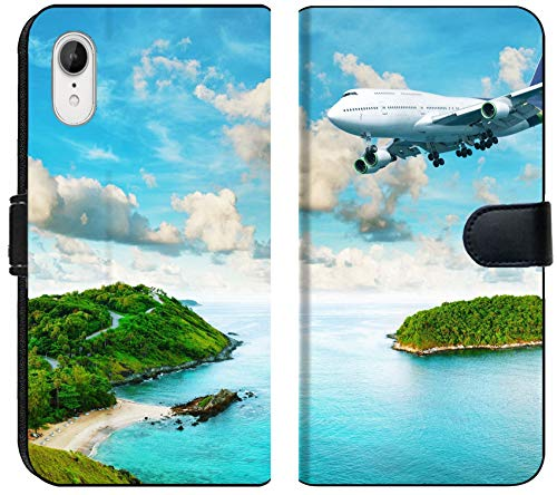 - Apple iPhone XR Flip Fabric Wallet Case Image ID: 13429383 Jet Plane Over The Tropical Island Panoramic Composition in Very hig
