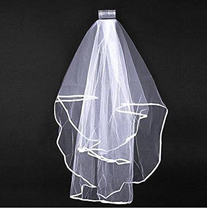 2T Bridal Veil with Comb Wedding Veil Elbow Length Satin Edge Veil