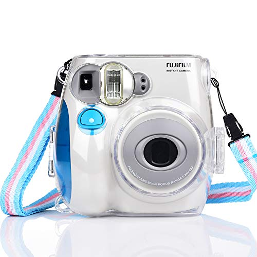 SAIKA Crystal Protective Case Cover for Fujifilm Instax Mini 7s Instant Camera with Shoulder Strap