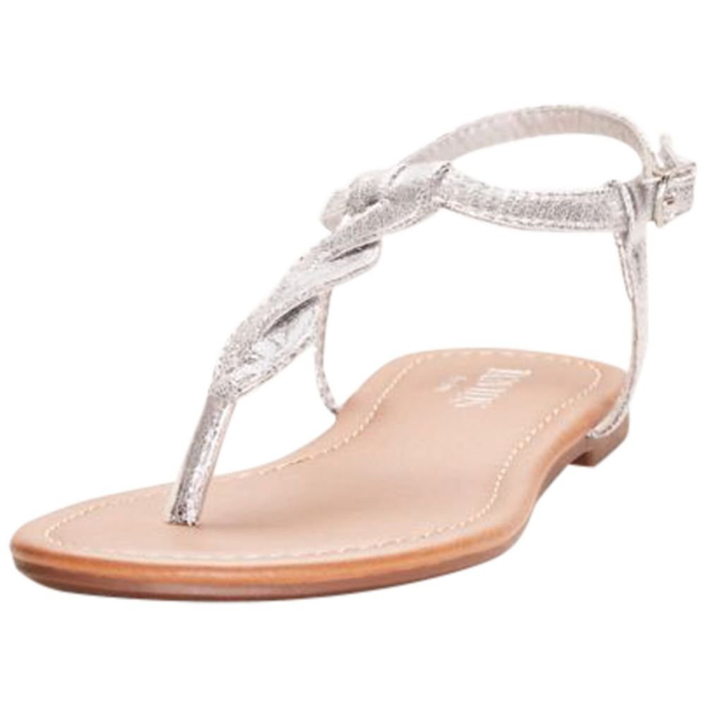David's Bridal Twisted T-Strap Sandals Style Kendall, Silver Metallic, 8