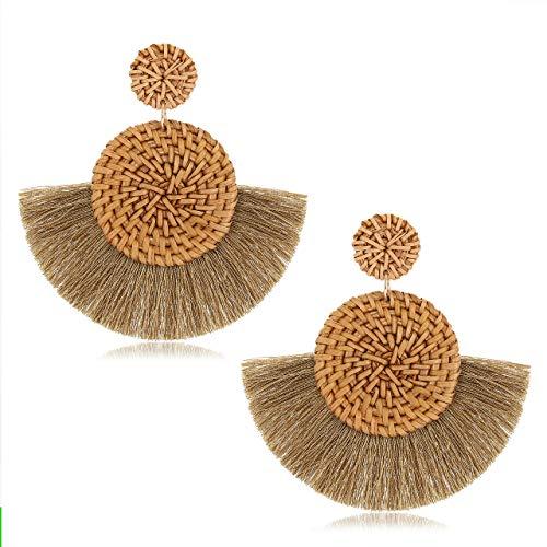 CEALXHENY Rattan Earrings for Women Handmade Straw Wicker Braid Drop Dangle Earrings Lightweight Geometric Statement Earrings (F Brown Tassel)