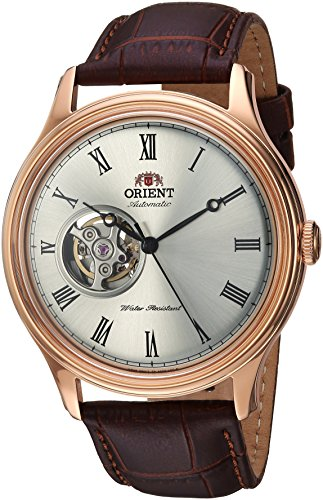 - Orient Men's Envoy Japanese Automatic/Hand Winding Movement Stainless Steel Leather Dress Watch, White Brown Leather AG00001S