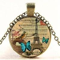 Ransopakul Vintage Paris Eiffel Cabochon Glass Bronze Butterfly Tower Pendant Necklace CA2