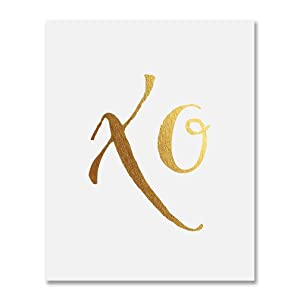 XO Gold Foil Art Hugs and Kisses Modern Calligraphy Poster Love Newly Engaged Gift Dorm Decor Office Print Nursery Wall Art 5 inches x 7 inches Art A40