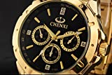 Fq-304 Golden Stainless Steel Mens Luxury Wrist Watches for Man Black Face