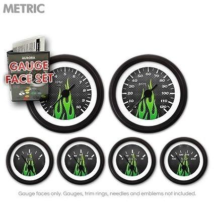 GARFM98 Carbon Fiber Green Gauge Face Set Aurora Instruments
