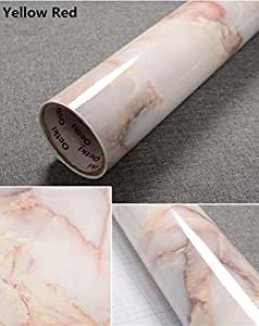 Yancorp Yellow Red Granite Look Marble Effect Counter Top Film Vinyl Self Adhesive Peel-Stick Wallpaper 24 X 79 inch,61cmx2m