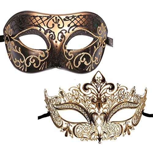 Glitter Mardi Gras Mask - Xvevina Couples Pair Mardi Gras Venetian Masquerade Masks Set Party Costume Accessory Multicolored (Antique Couple)
