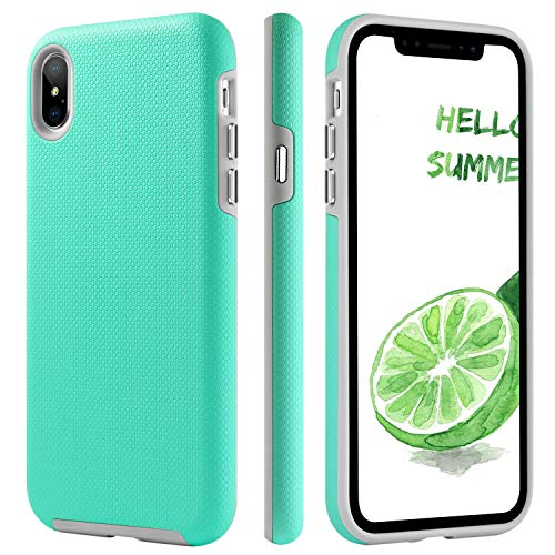 BENTOBEN Case for iPhone Xs Max, Slim 2 in 1 Hybrid Soft TPU Bumper Hard PC Cover Shockproof Anti-Scratch Rugged Durable Impact Resistant Protective Phone Cover for iPhone Xs Max 6.5'' – Mint Gr