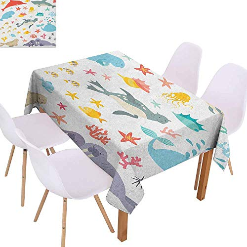 - Easy Care Tablecloth Ocean Whale Squid Sea Lion Shark Jellyfish Clownfish Dolphin Starfish Stingrays Colorful and Durable W40 xL60 Multicolor