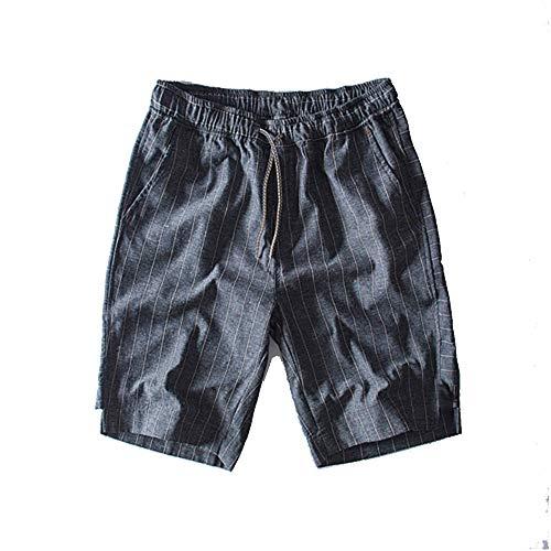 Sevem-D Striped Shorts Men Summer 100% Cotton Linen Shorts Knee Lenght Straight