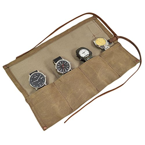Waxed Canvas Travel Watch Roll Organizer Holds Up to 4 Watches Handmade by Hide & Drink :: Fatigue (Watch Travel Roll)