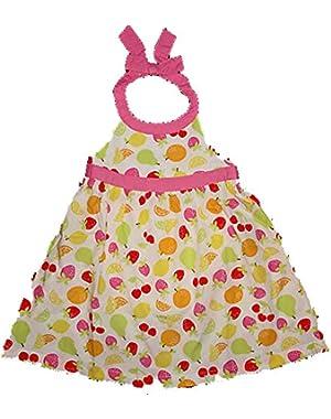 Baby Girls Berry Sweet White Fruit Halter Sun Summer Dress 0-3 months