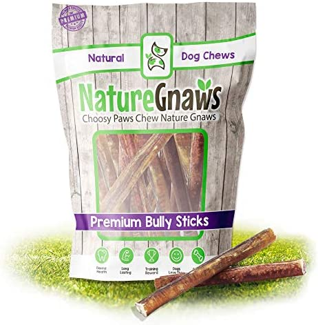 Nature Gnaws Large Bully Sticks 5-6 inch – Premium Natural Beef Dog Chew Treats – Long Lasting – Rawhide Alternative Bones for Medium and Large Breeds – Single Ingredient Chews for Dogs