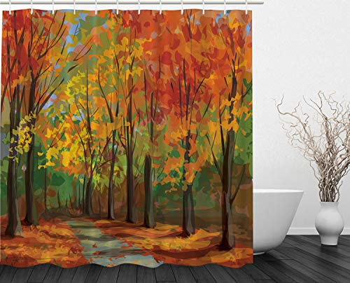 Ambesonne Woodsy Shower Curtain Forest North Woods Falling Leaves Fall Park Road Autumn Leaves Country Home Decor Seasonal Colors Romantic Path Walk Trail Way Clawfoot Tub, Yellow Orange