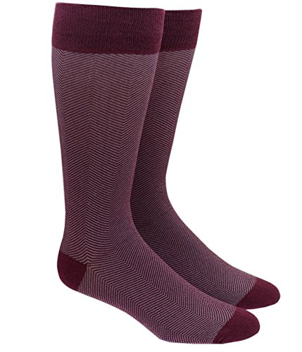 The Tie Bar Herringbone Burgundy Men's Cotton Blend Dress Socks