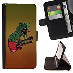 - MONSTER ART DINOSAUR GUITAR MUSIC ROCK - - Prima caja de la PU billetera de cuero con ranuras para tarjetas, efectivo desmontable correa para l Funny HouseFOR Samsung Galaxy S5 V SM-G900