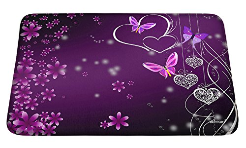 Meffort Inc Printed Soft Floor Door Mat Carpet / Area Entry Rugs for Kitchen Dining Living Hallway Bathroom - Flower Heart Butterfly