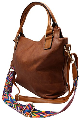 Codyna with PU for Style Brown Guitar Shoulder Strap Tote Leather Handbags Bag Womens Hobo Large Yw4Yrq