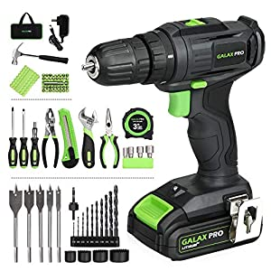 Galax PRO Cordless Drill, 2-Speed Compact Drill, 20V Lithium-Ion Driver with 1.3 Ah Battery and Charger, 68 Pieces…