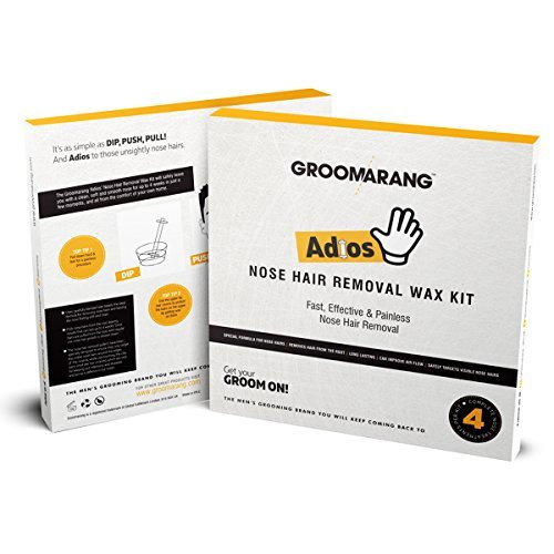 Groomarang Adios Nose Hair Removal Wax Kit Nasal & Ear Hairs - Painless, Effective And Safe (Best Wax For Brazilian At Home Uk)