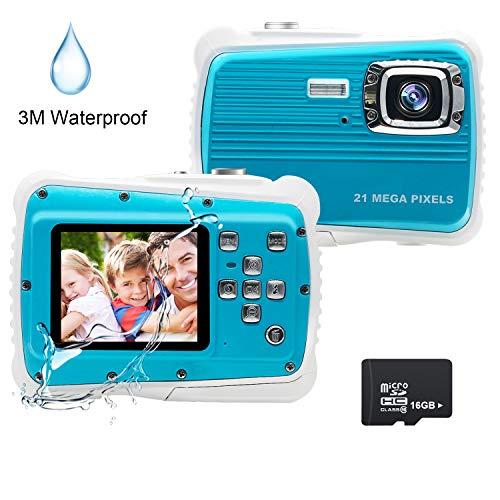 Kids Camera, 21MP HD 3M Waterproof Digital Camera for Kids, 2.0 Inch LCD Display, 8X Digital Zoom,Flash and Mic for Boys Girls Kids(Blue)