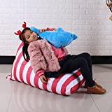 DDLBiz Kids Stuffed Animal Plush Toy Storage Bean Bag Chair Soft Pouch Stripe Fabric Chair (A)