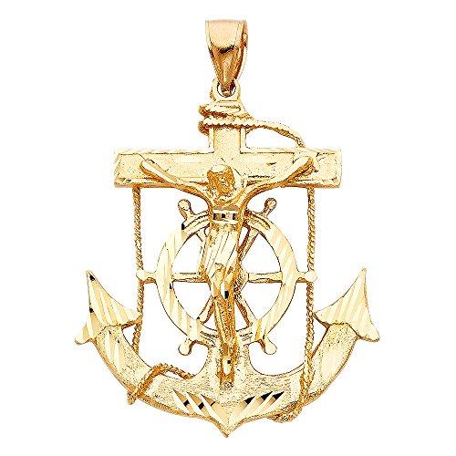 Solid 14k Yellow Gold Jesus Cross Mariner Charm Anchor Crucifix Pendant 6 Sizes (TGDJ-1220)