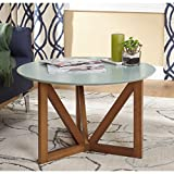 Target Marketing Systems Anders Collection Mid Century Modern Round Coffee Table With Woodgrain Pattern, Charcoal/Wood