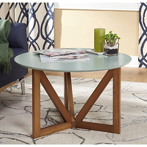 Target Marketing Systems Anders Collection Mid Century Modern Round Coffee Table With Woodgrain Pattern, - Collection Table Coffee Round