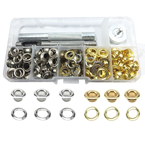 Gnognauq 200 Sets 2 Colors Grommet Kits with 3 Pieces Grommet Setting Tools for DIY Leather Craft Rivets Replacement