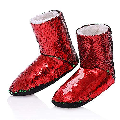 Womens Cozy Fuzzy Reversible Sequin Slipper Socks Girls