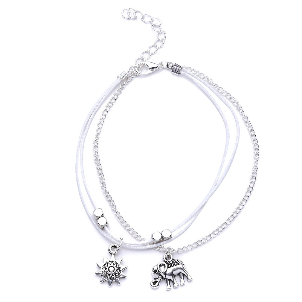 TraveT Bohemian Elephant Sun Anklet Three Layers Beads Chain Anklets Foot Ornaments Vintage Bracelets
