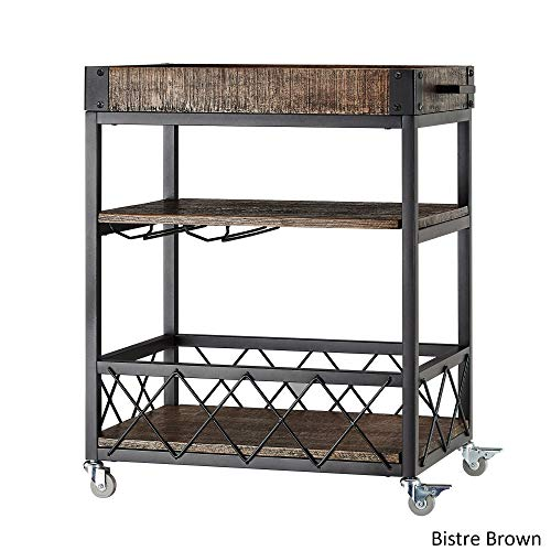 Glass Top Serving Cart - Myra Rustic Mobile Serving Cart with Wine Inserts and Removable Tray Top with Weathered and Timeworn Patina (Bistre Brown)