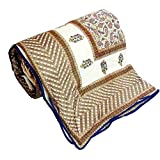 Little India Hand Block Golden Brown Designer Double Bed Dohar 304