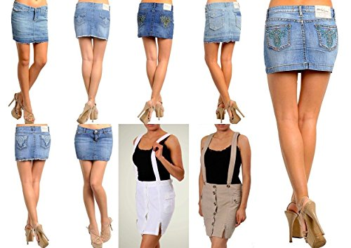 - Silver Kiss Jeans New Lot Skirts Jeans Mini Short Leather Casual Denim Blue Red Khaki White S M L(M Lot Of 6 Random Assorted Skirts)