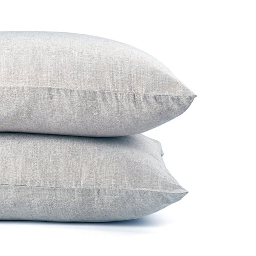 Organic Linen Pillow Cases Set of 2 - Grey, White, Two-Color - 20