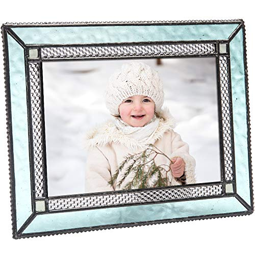 J Devlin Pic 419-46HV Aquamarine Blue Stained Glass 4x6 Picture Frame Home Decor Photo Frame Keepsake Gift -