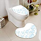 aolankaili Heart Shaped Foot pad 2 Pieces Set Water Bubbles Purity Symbol Crystal Droplets Background White in Bathroom Toilet Mats