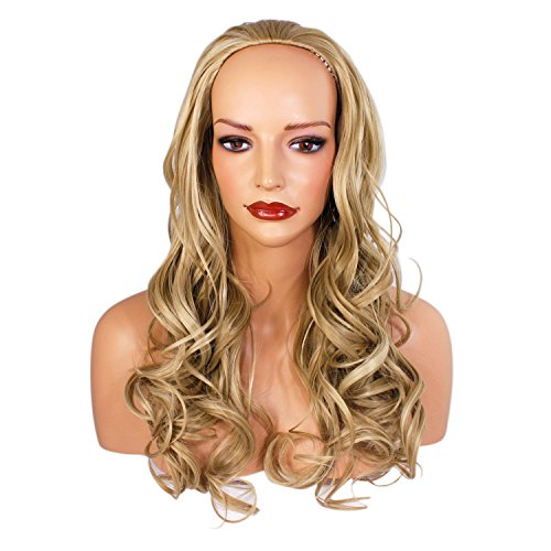 Ladies 3/4 Half Wig - Ash Blonde Mix - Wavy Style - 22 Inches - 250g - Kanekalon Synthetic Fibre - Clip In Hair Piece - Looks and feels like real hair by Elegant Hair -