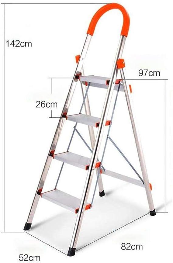 Escaleras plegables peldaños, 3-Step / 4-Escalera plegable, etapa de plegado Stool, Cocina de aluminio escaleras de tijera, Escalera multiusos con Anti-Slip Mat y agarre de goma Mano, 330lbs Capacidad: Amazon.es: Hogar