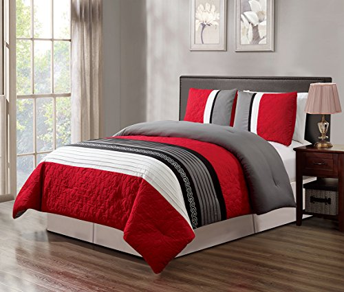 GrandLinen 3 Piece Red/Grey/Black/White Scroll Embroidery Bed In A Bag Down Alternative Comforter Set KING Size Bedding. Perfect For any Bed Room or Guest Room
